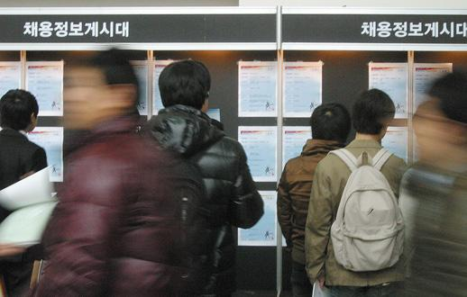 Students at Chonbuk National University look closely at job boards posted during the yearly Grand Job Fair at their university.