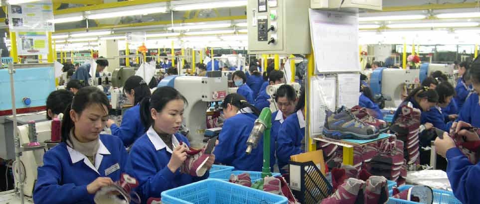 North Korean workers at Kaesong Industrial Complex produce sneakers.