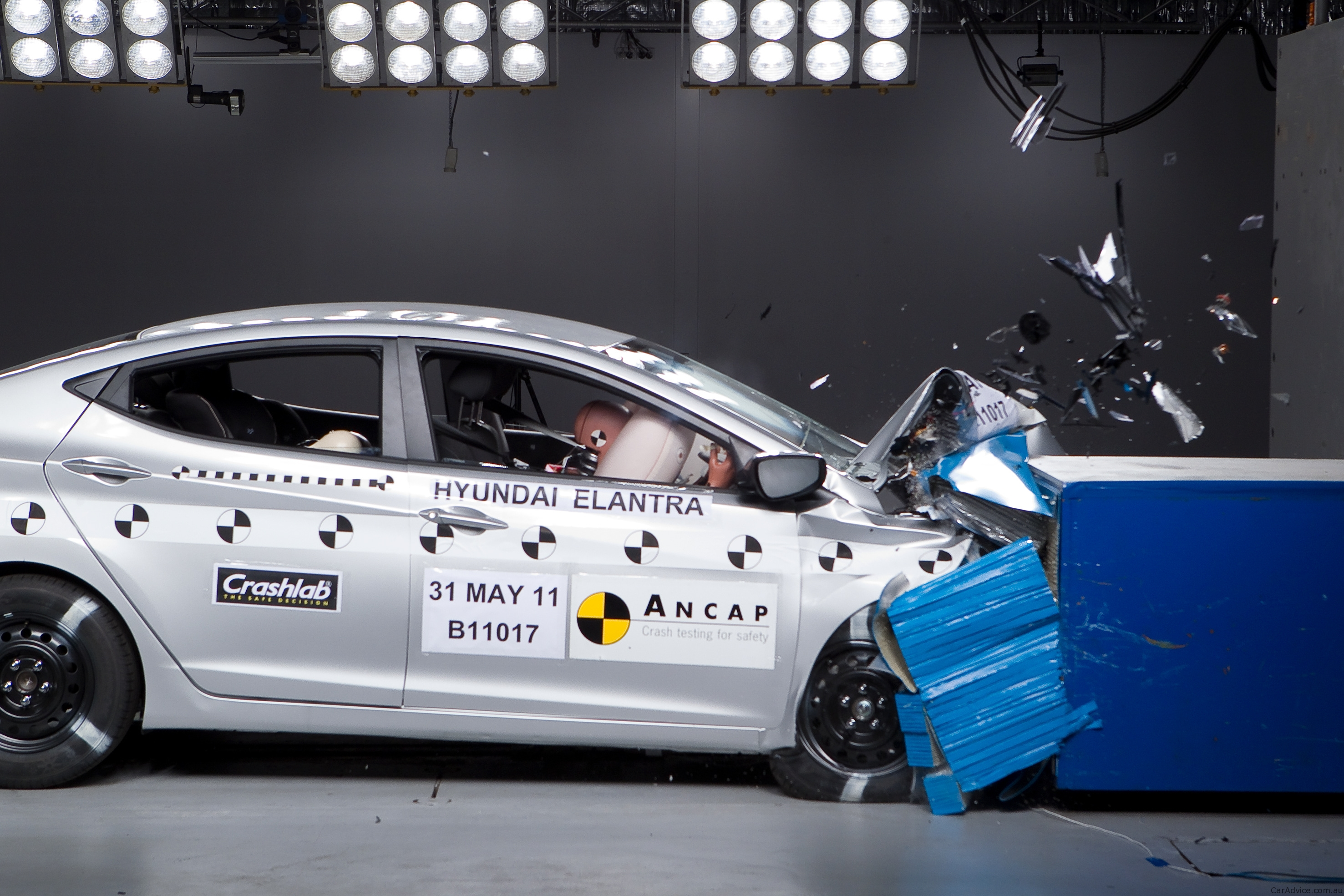 The Hyundai Elantra was awarded the maximum five-star safety rating after being tested by the Australasian New Car Assessment Program (ANCAP), pictured above.