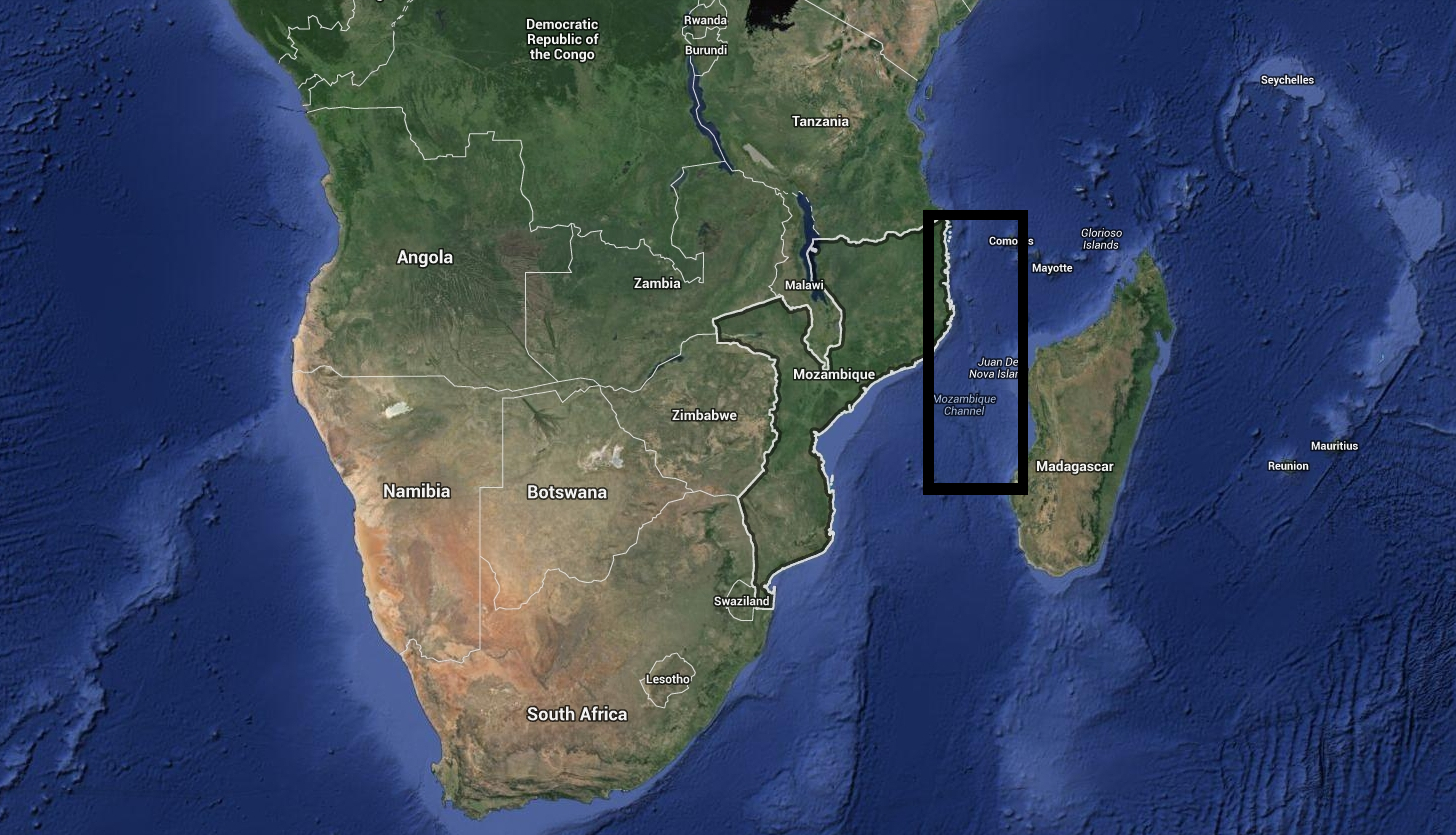 The Mozambique Coast Mine is located within the black rectangular area on the map.