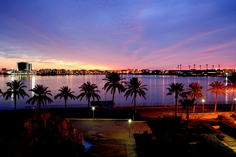A view of Benghazi, the second largest city of Libya, at dusk.