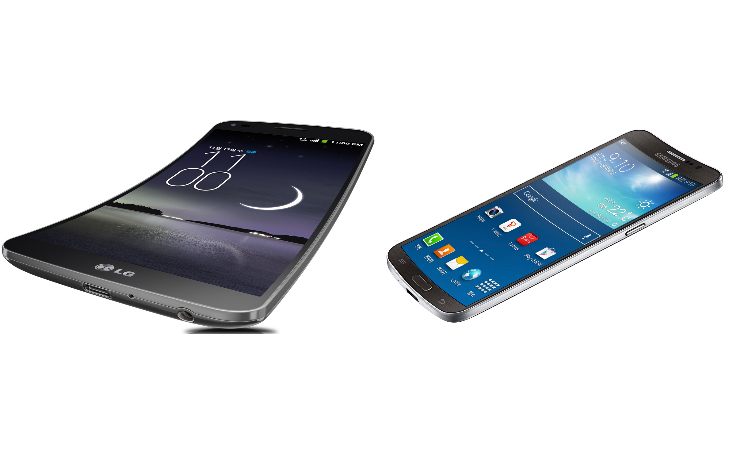 The LG Flex, on the left, is curved from top to bottom. The Galaxy Round, on the right, is curved from left to right.