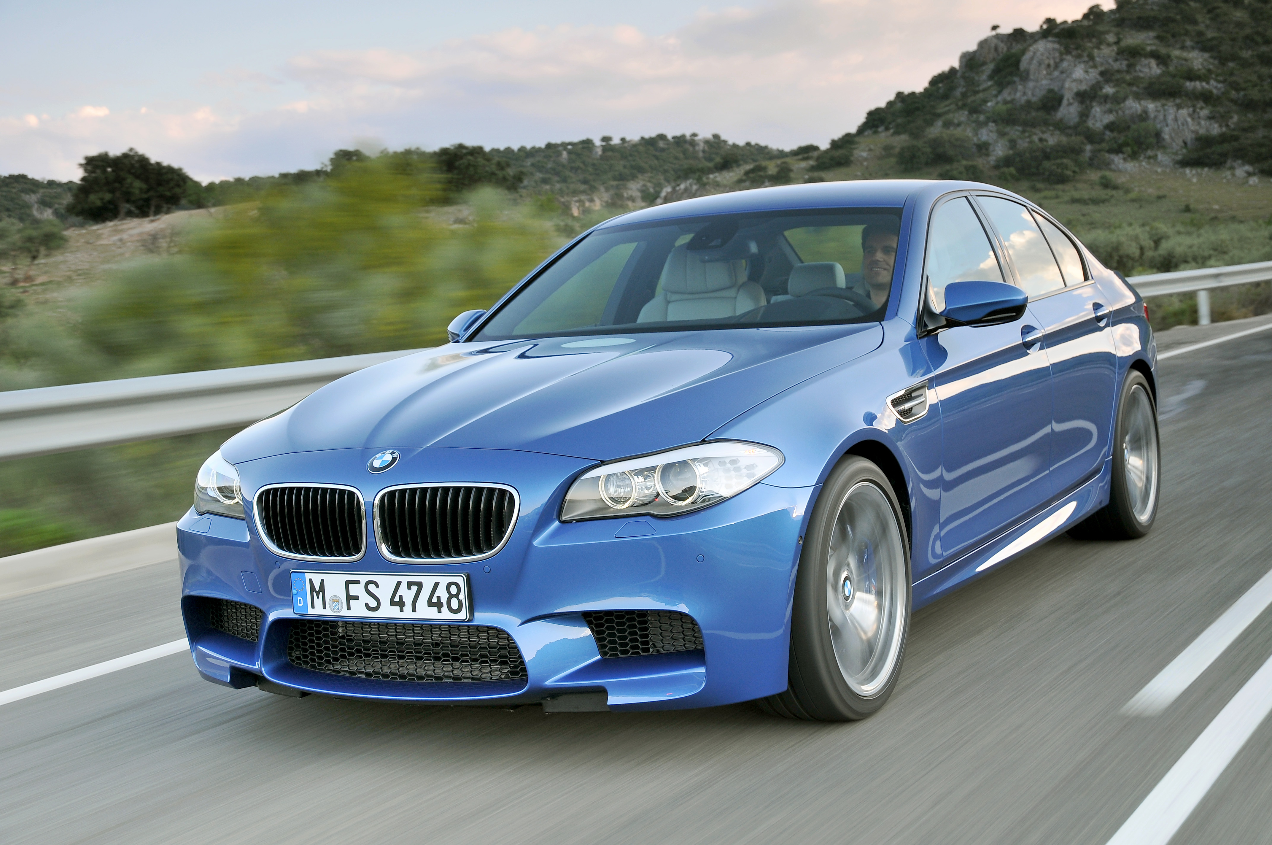 The BMW M5, in blue.