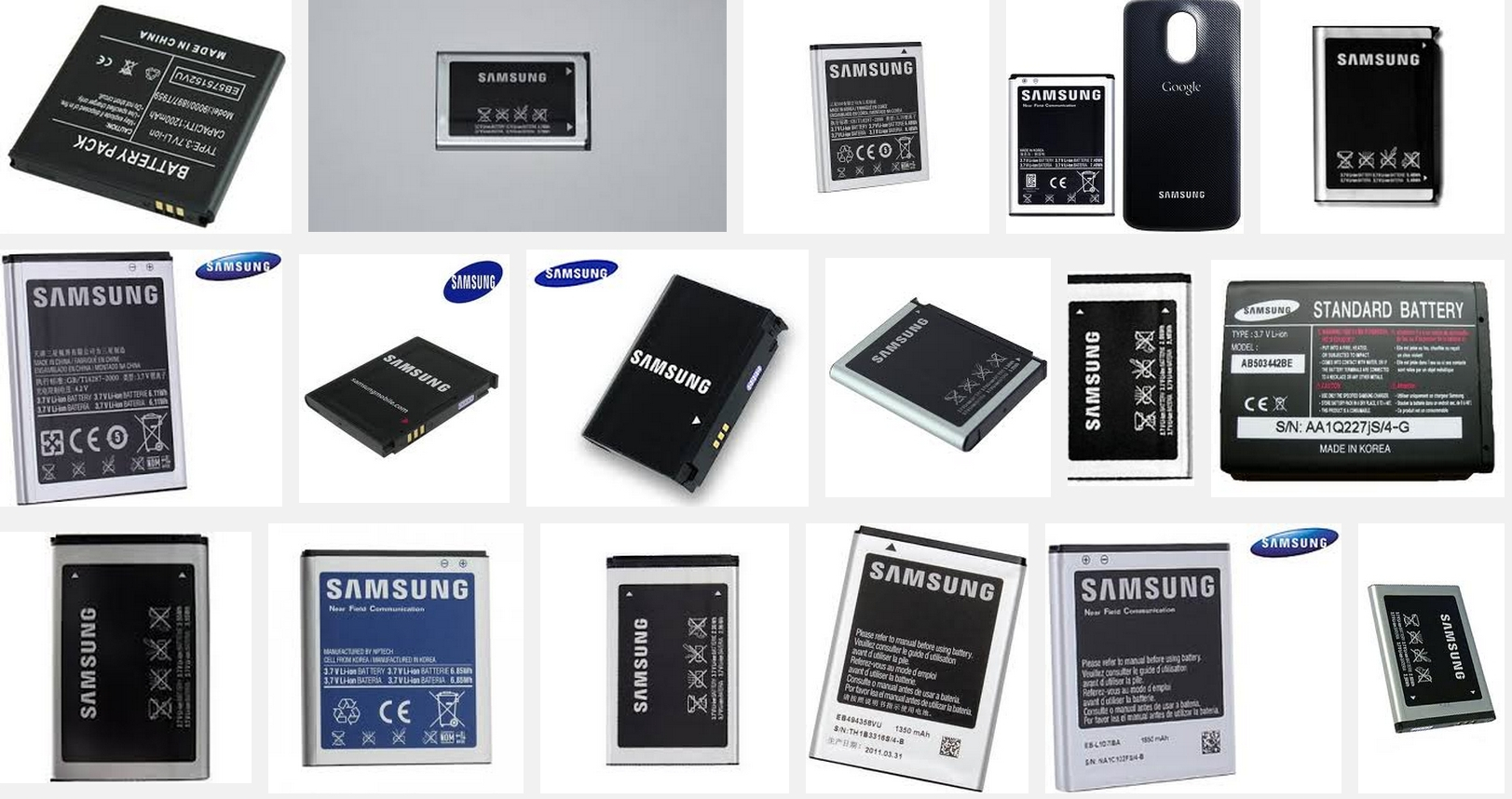 Several types of secondary batteries from Samsung.