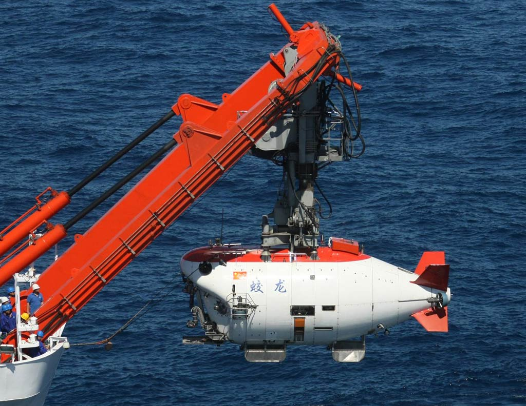 The Chinese deep-sea submersible Jiaolong, translated as flood dragon, has reached a depth of 7,062 meters in the Mariana Trench in 2012. It is the third-deepest dive in human history.