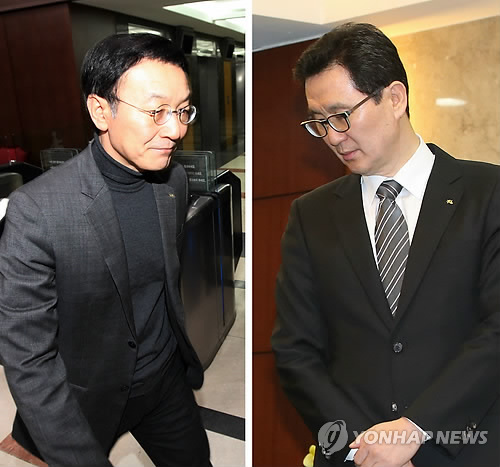 President of Kookmin Bank Lee Kun-ho, left, and Shim Jae-ho of Kookmin Card, right, have both resigned in the face of the disaster.