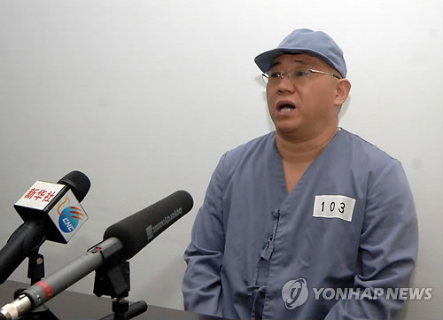 Kenneth Bae, a Korean-American Christian missionary detained in North Korea for more than a year, holds a news conference at the Pyongyang Friendship Hospital in the North Korean capital of Pyongyang on Jan. 20, 2014. (Yonhap)