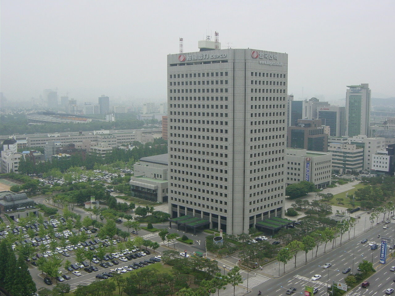 The Korea Electric Power Corporation headquarters building in Gangnam, Seoul. It is located within walking distance of Samseong Subway Station.