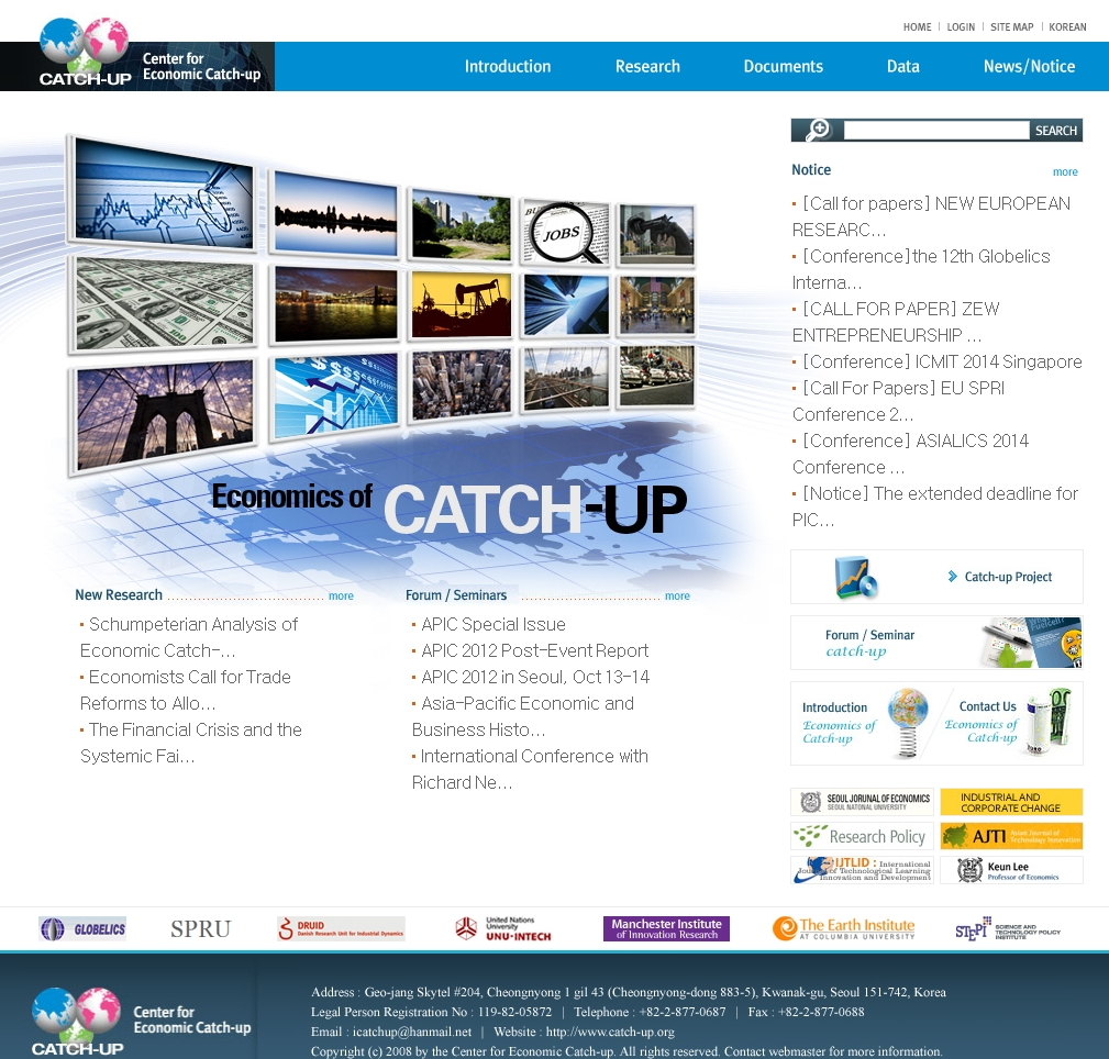 The web site of the Center for Economic Catch-up, which can be found at www.catch-up.org.