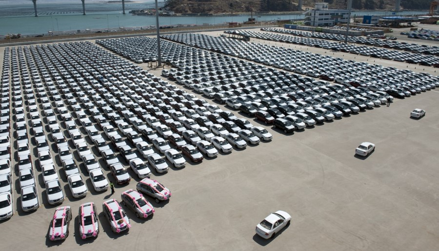 Renault Samsung cars line up at a pier preparing to be shipped out of the country.