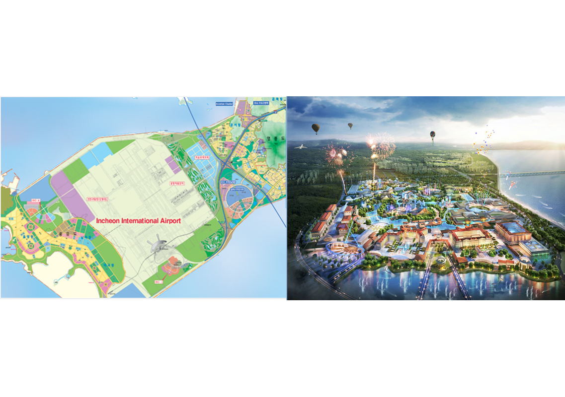 The idea is to turn Yongjeongdo (left), the island on which Incheon Airport is built, into a giant resort complex (right).