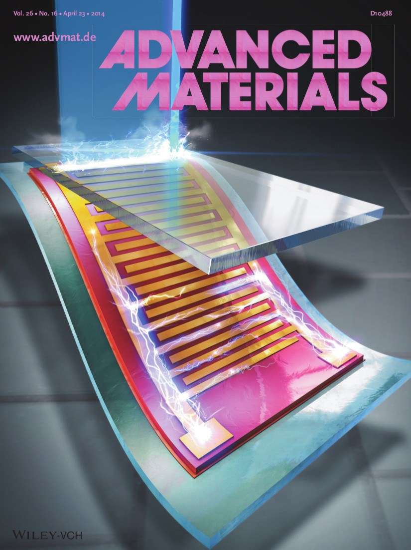 The April 23 issue of Advanced Materials included cover art of the nanogenerator structure from Lee Keon-jae et al.'s paper.