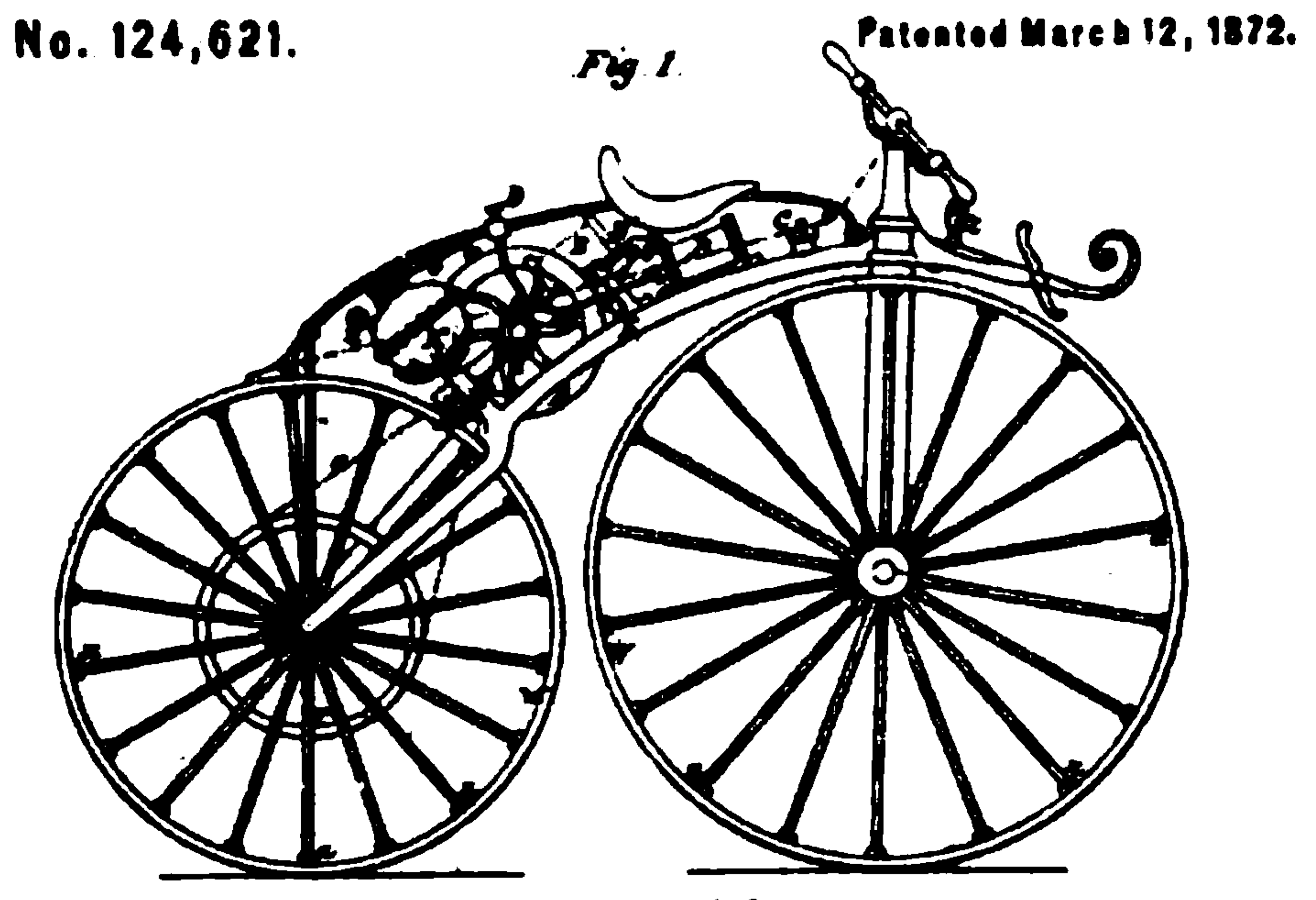 An illustration for a patent application for an improved Michaux-Perreaux steam velocipede filed with the U.S. Patent office on March 12, 1872.