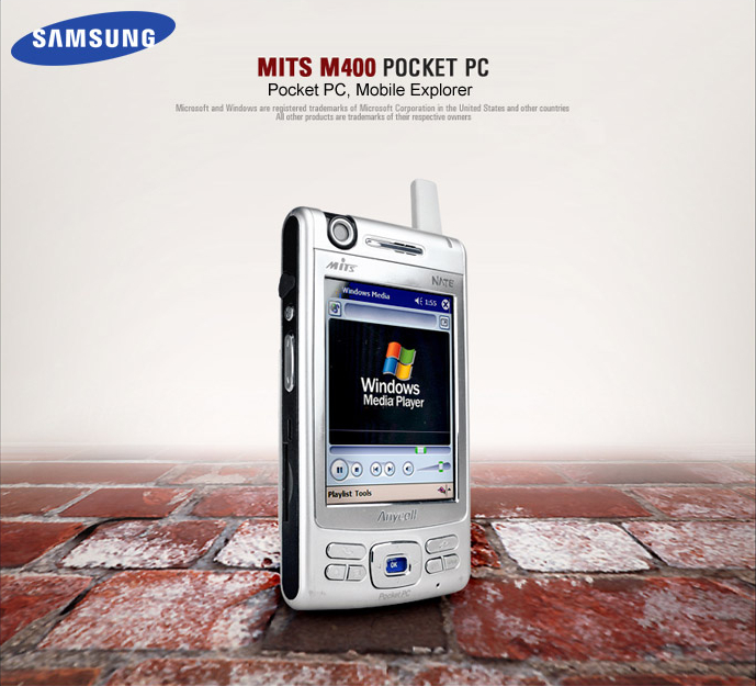 "The Samsung MITs M400 was advertised as a combination phone, TV, digital camera, camcorder, GPS, MP3 player, and 2-way radio with the Pocket PC 2002 Phone Edition OS. It had a 300k pixel camera and a 3.5"" screen. In 2003."