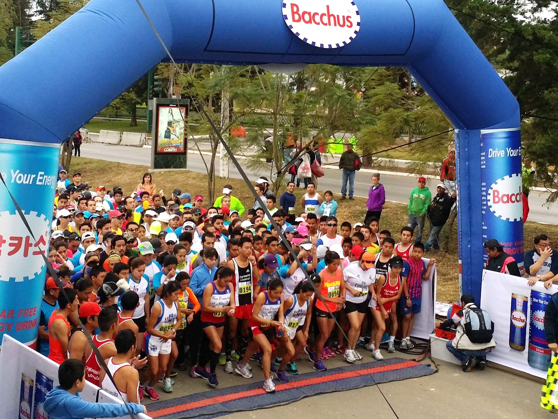 The starting line of the First Bacchus Marathon Race in Guatemala.