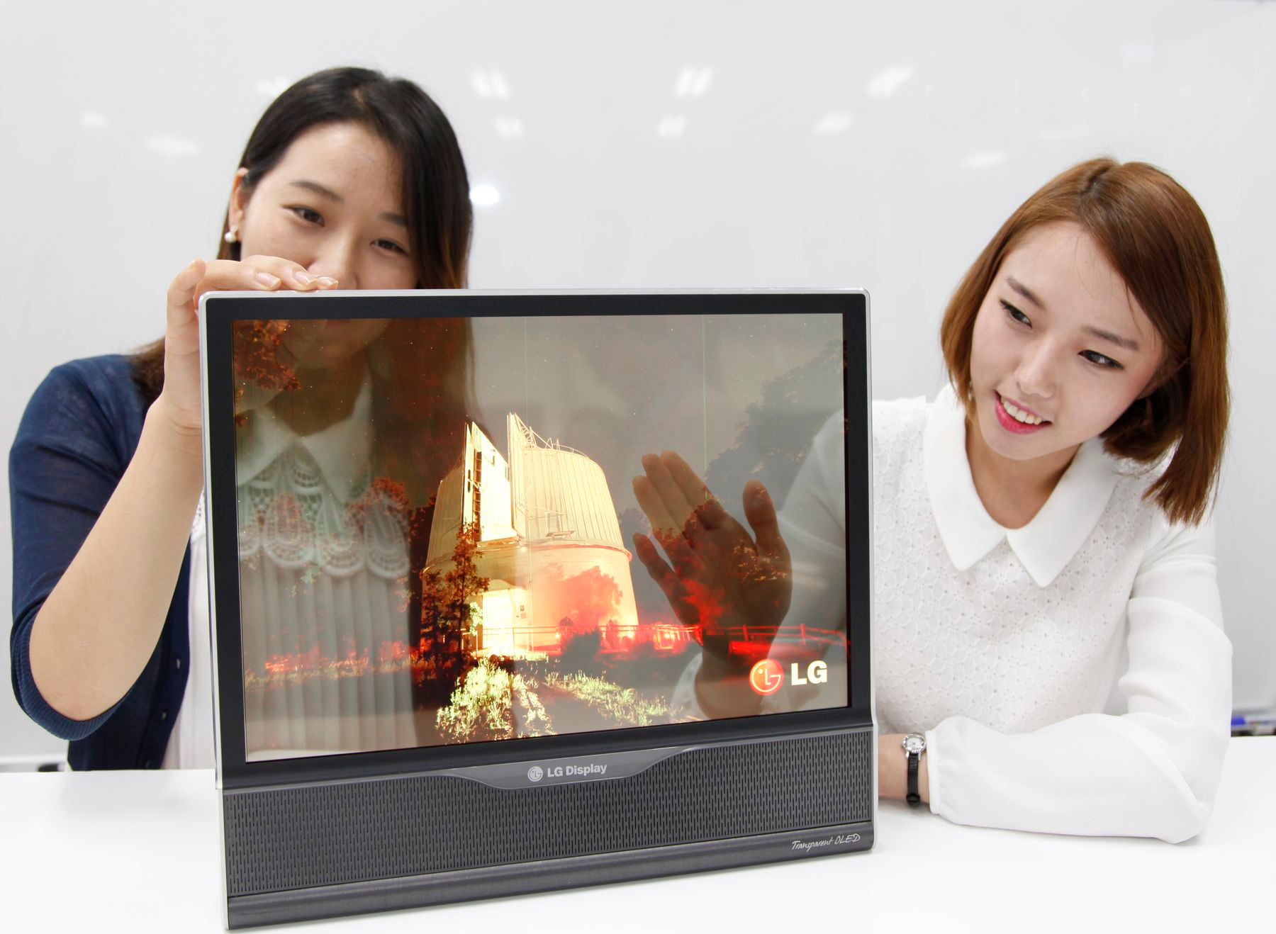 Transparent 18 inch OLED panel developed by LG Display in 2014.