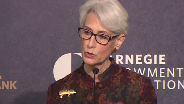 Wendy Sherman, under secretary of state for political affairs, speaks at Washington's Carnegie Endowment for International Peace on Feb. 27 (local time).