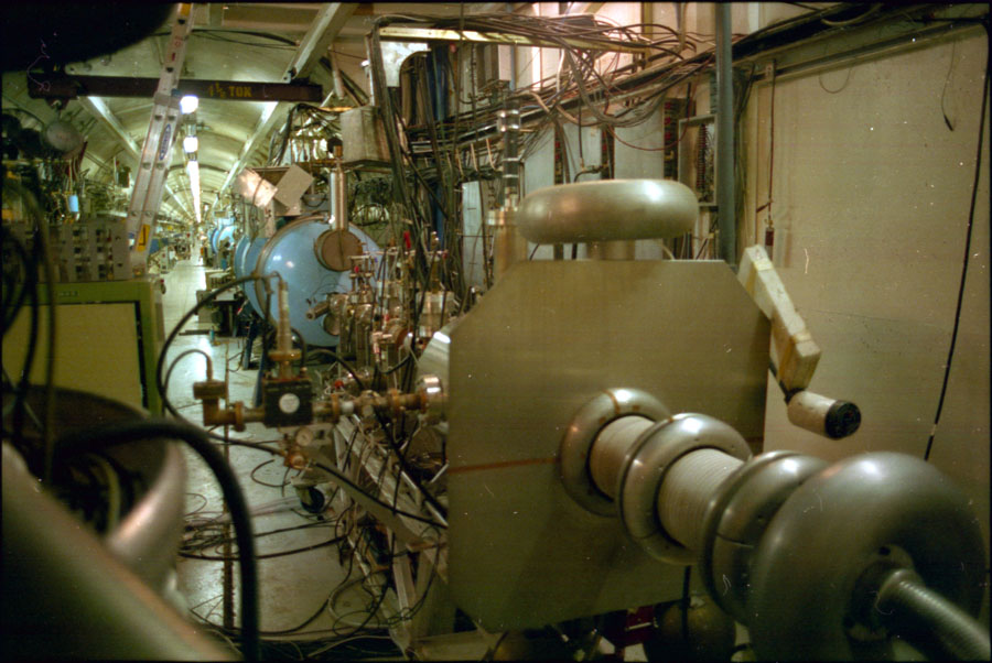 A view of the Stanford superconducting linear accelerator, used to drive two infrared free-electron lasers.