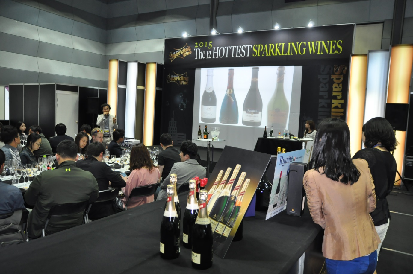 Wine For You Marble Inc. CEO Kim Min-jae speaks about sparkling wines at the 13th Seoul International Wines & Spirits Expo, which kicked off April 23.