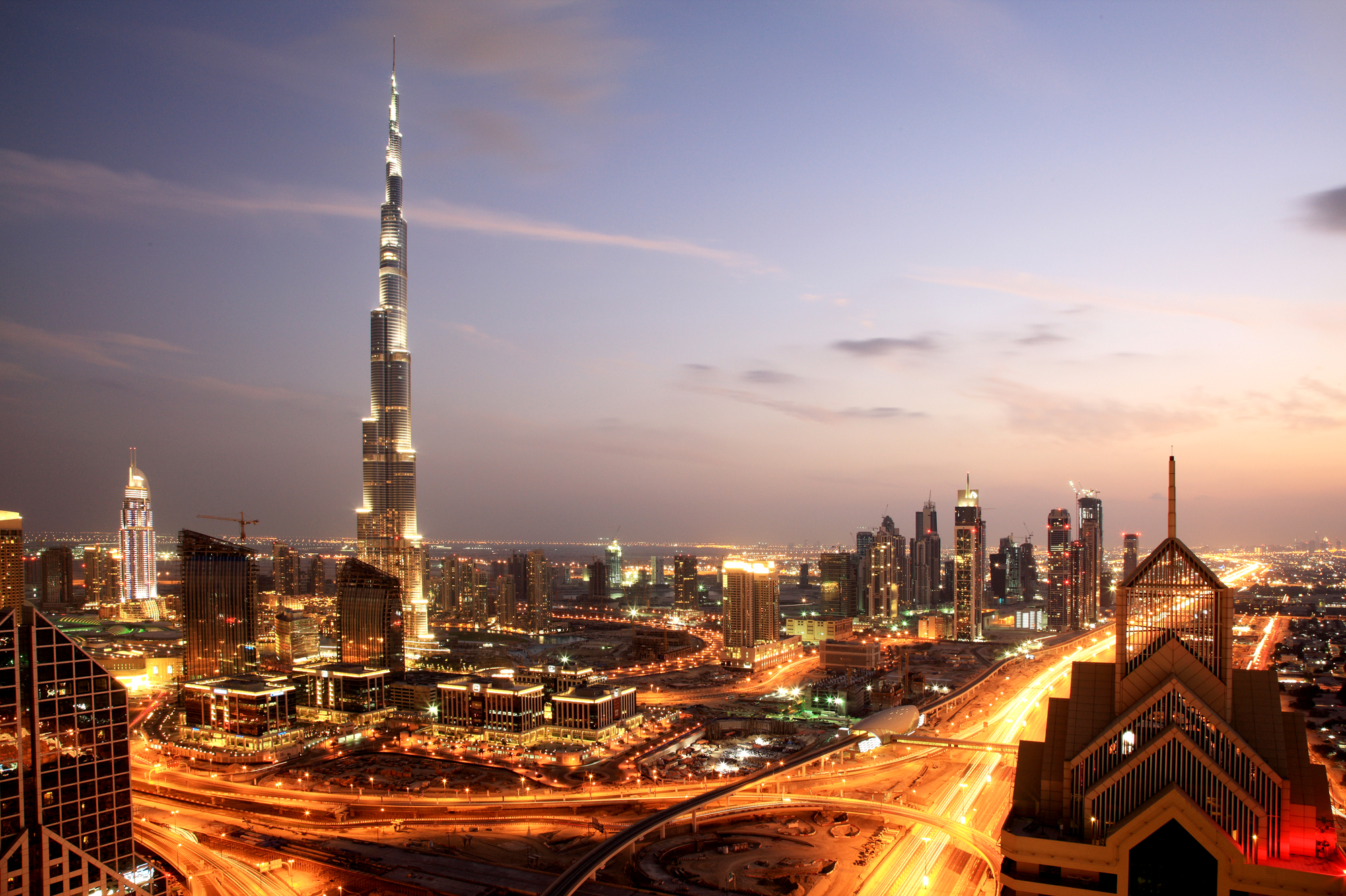 Dubai, with the Burj Khalifa to the left, the tallest building in the world.