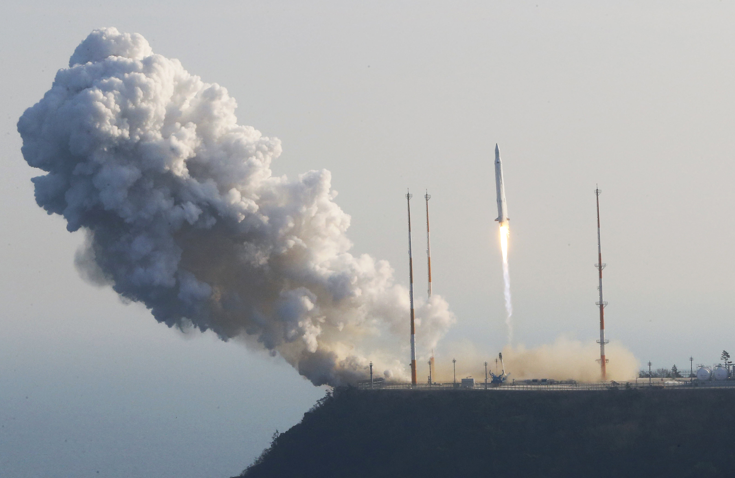 South Korea's rocket takes off from its launch pad at the Naro Space Center in Goheung, South Korea, Wednesday, Jan. 30, 2013.