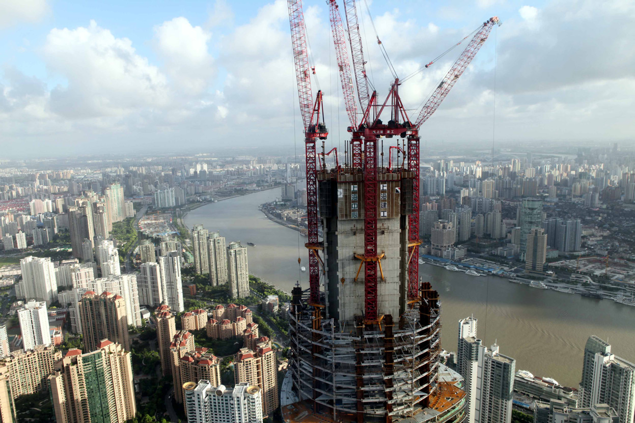 Construction of the Shanghai Tower, still not completed, as seen on Aug. 5, 2012.