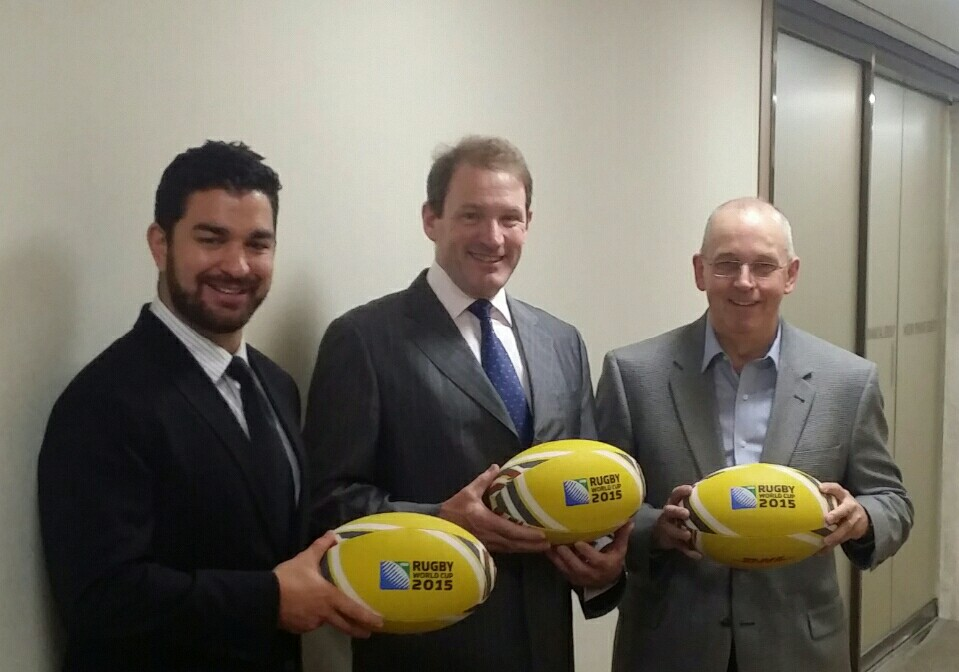 From left: Commonwealth Chamber Chairmen Simon Walsh of the Kiwi Chamber, Michael Reed of the BCCK, and Graham Dodds of AustCham pose ahead of 2015 Rugby World Cup Charity Dinner which will be held on Tuesday, May 19, 2015 at the JW Marriott Banpo.