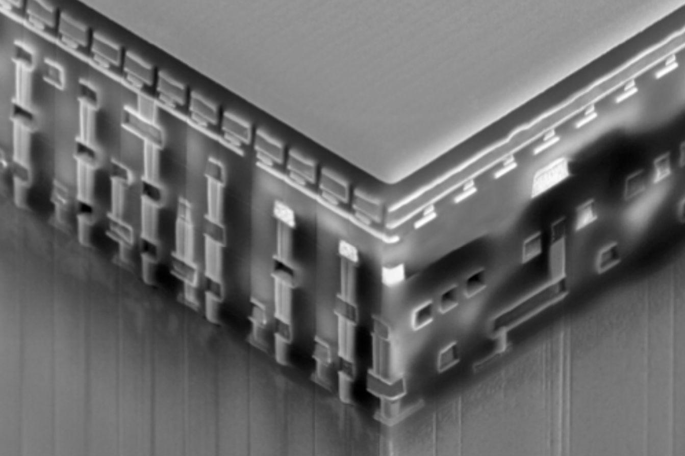 A Resistive RAM stack under an electron microscope shows the 3D structure that is possible with RRAM.