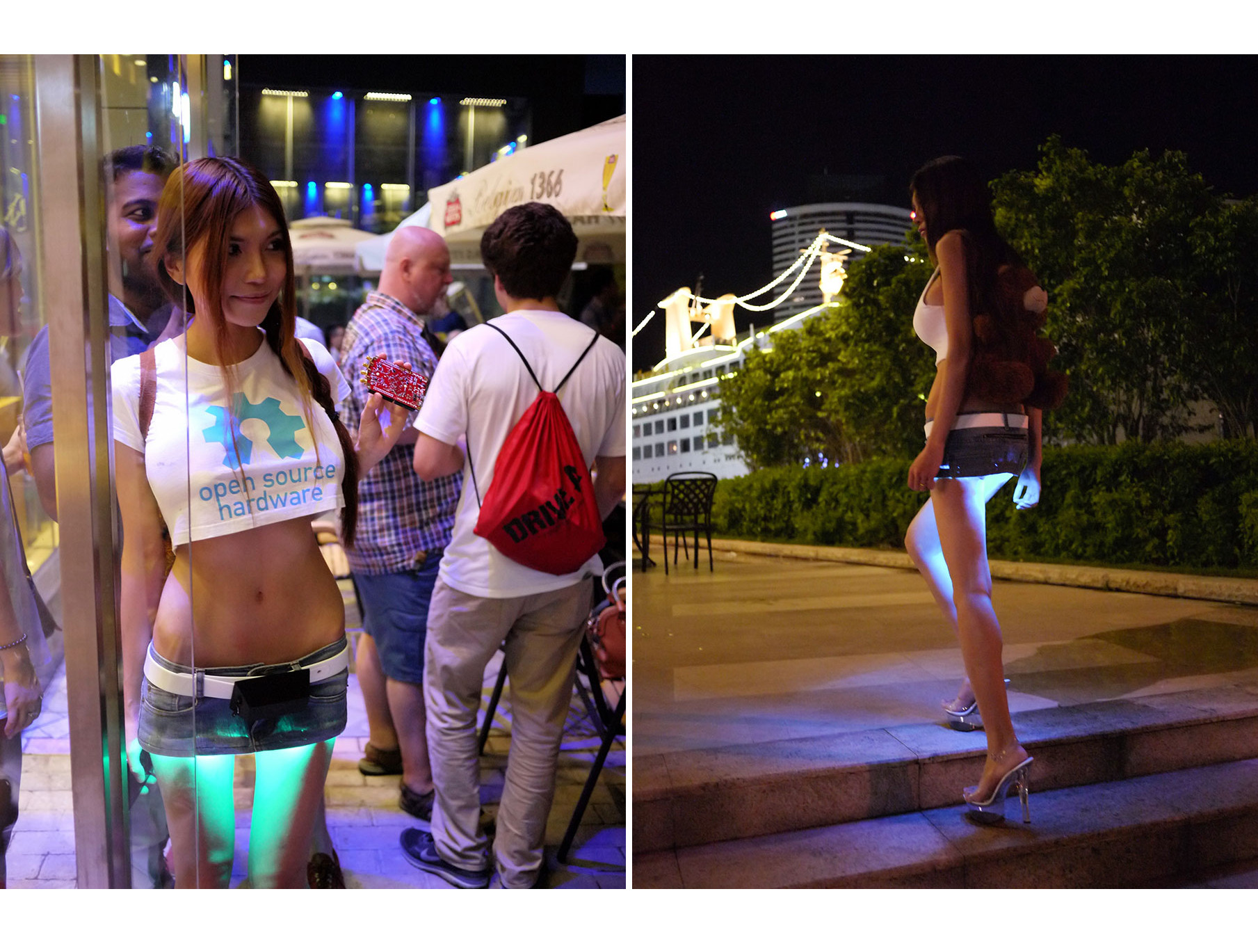 An unidentified woman wears an LED-lighted miniskirt of her own design at a local hardware hacker's meetup (left) and on the street (right).