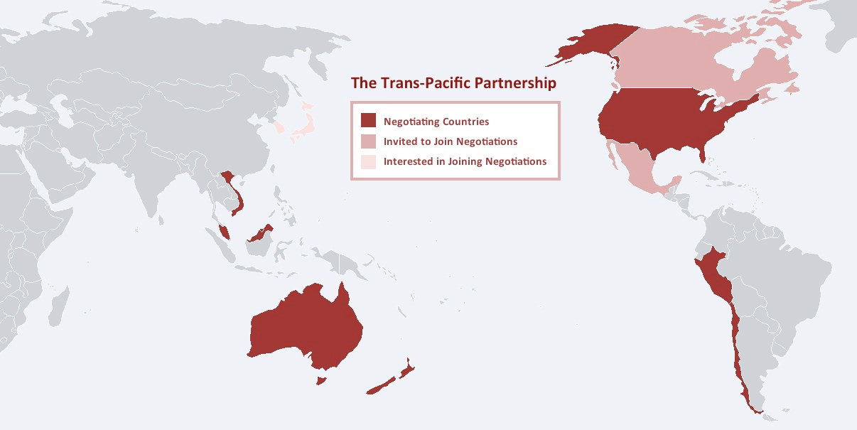 A map of the proposed Trans-Pacific Partnership member countries.