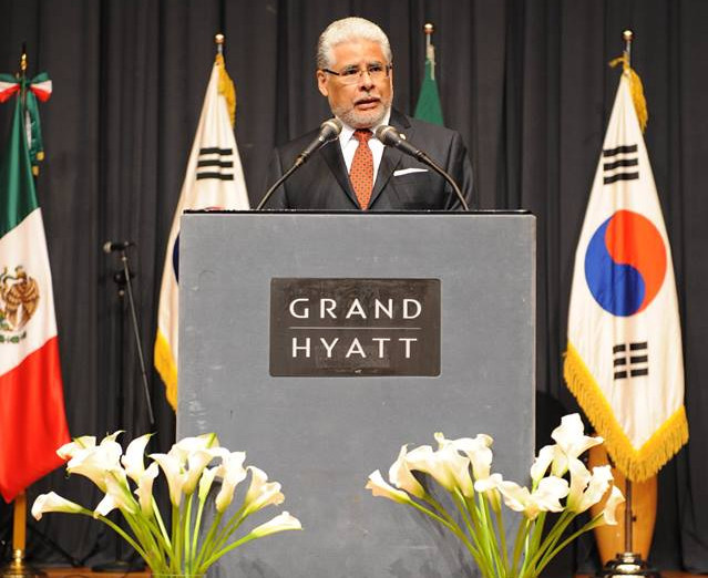 Ambassador of Mexico to the Republic of Korea, H.E. José Luis Bernal, speaks on the occasion of the 205th Independence Day celebration at the Grand Hyatt, Seoul on Sept. 15