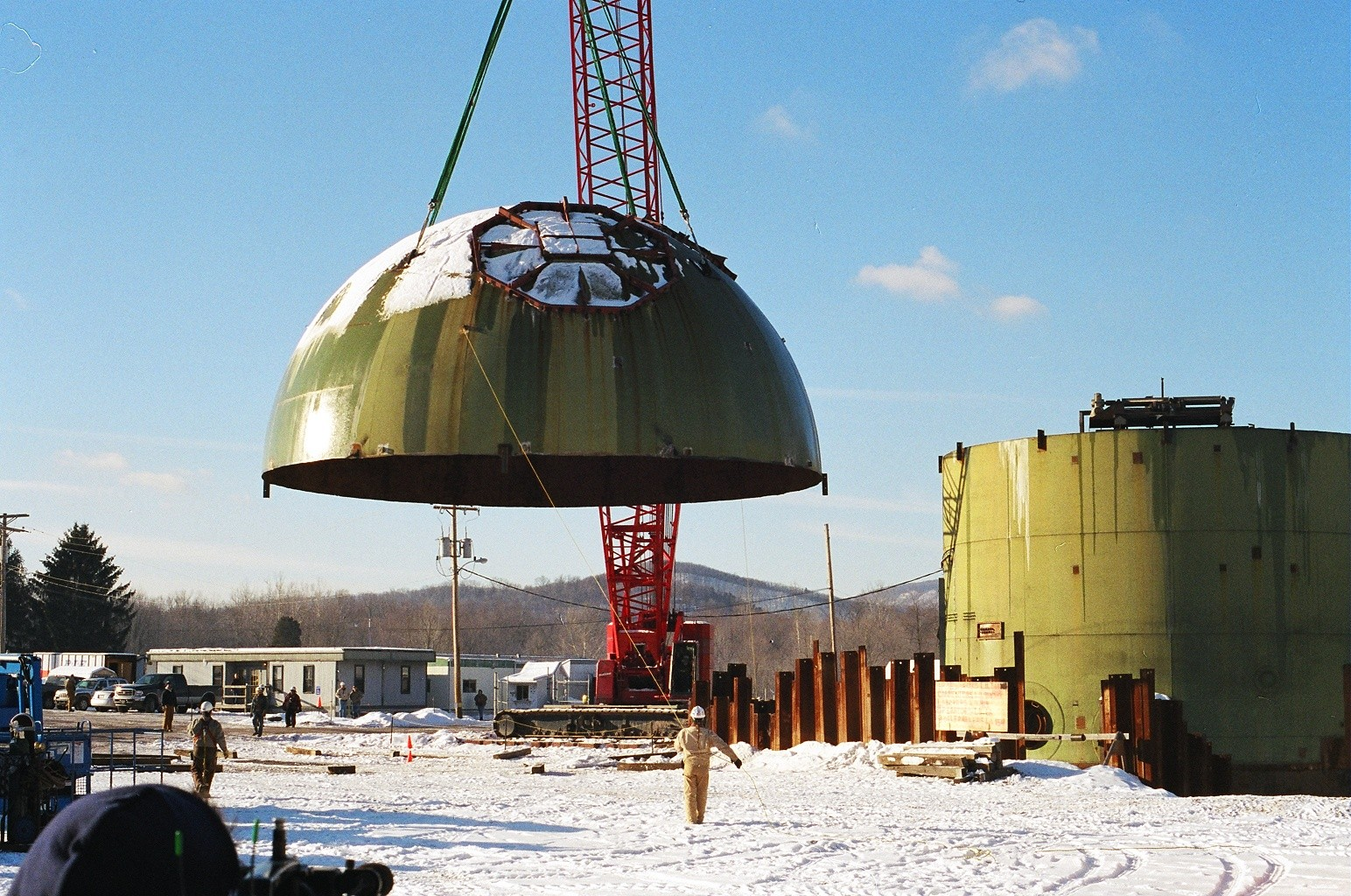 The dome of the  Saxton Nuclear Experimental Facility in Bedford County, PA, U.S. being taken off in 2001.