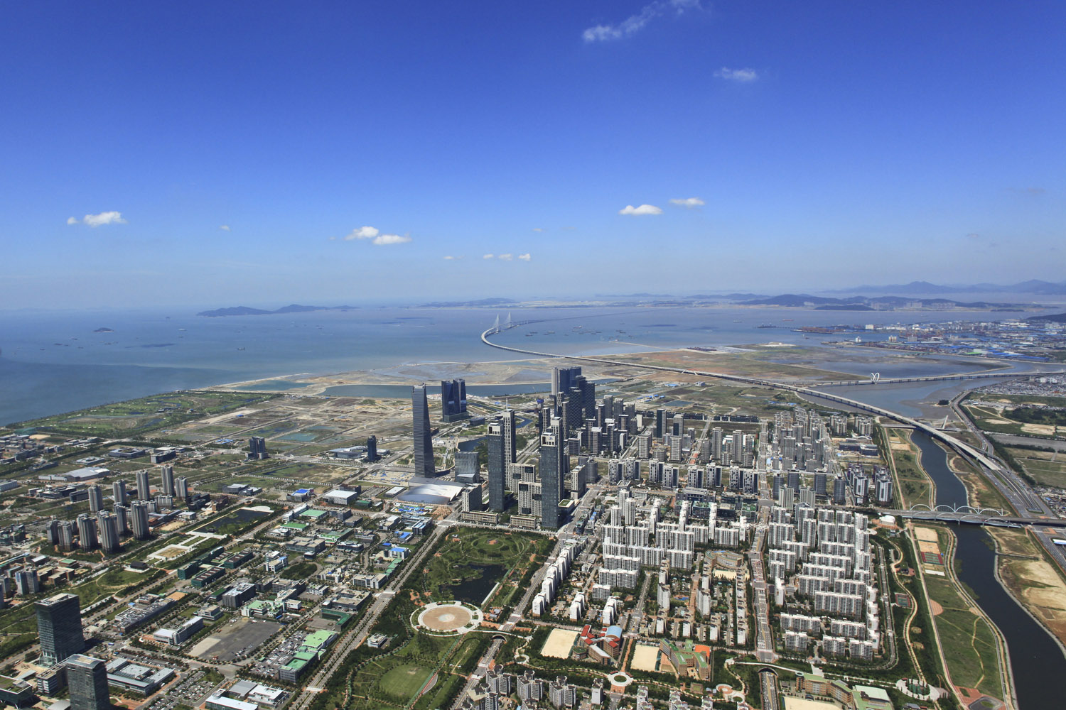 An aerial view of the Songdo International Business District in Incheon, South Korea, in 2013.