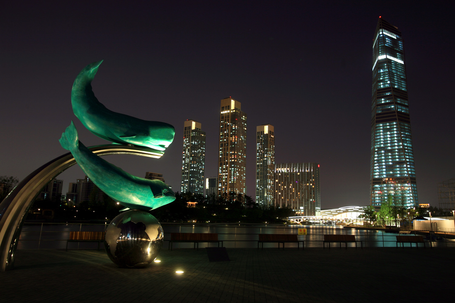 A night view from the central park of Songdo International Business District in Incheon, South Korea.