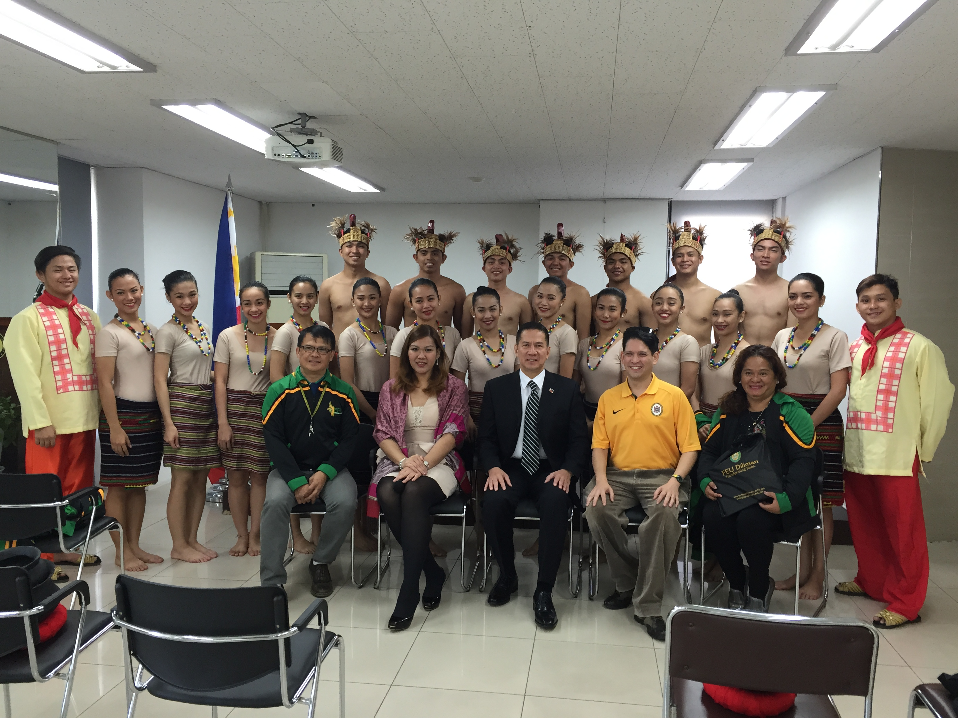 Dancers from the Far Eastern University (FEU) Dance Company pose with the Ambassador of Philippines H.H. Raul S. Hernandez at the Embassy Chancery's Multipurpose Hall on Oct.13.