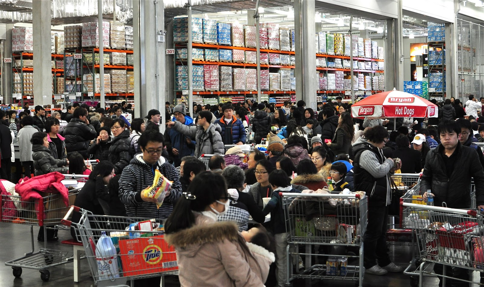 Korean shoppers buy in bulk at one of the nation's many Costco stores.