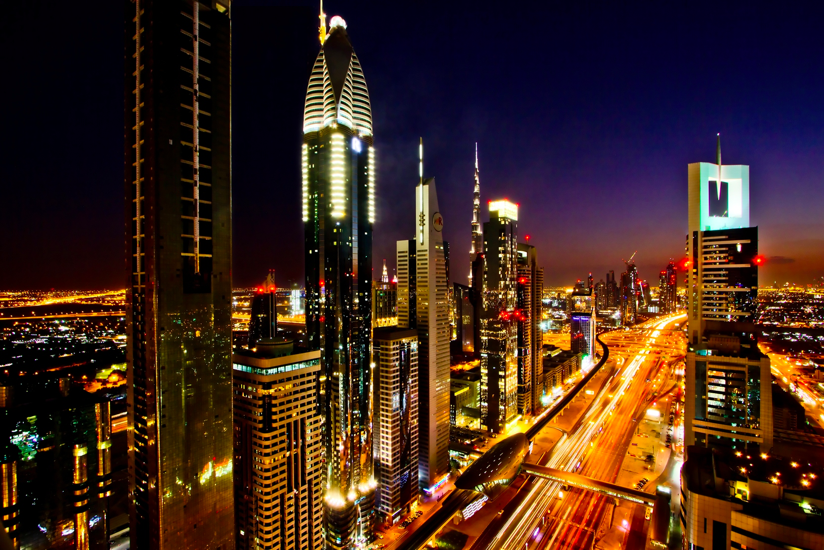 The Sheikh Zayed Road in Dubai as it looks today. It is the main artery of the thriving city.