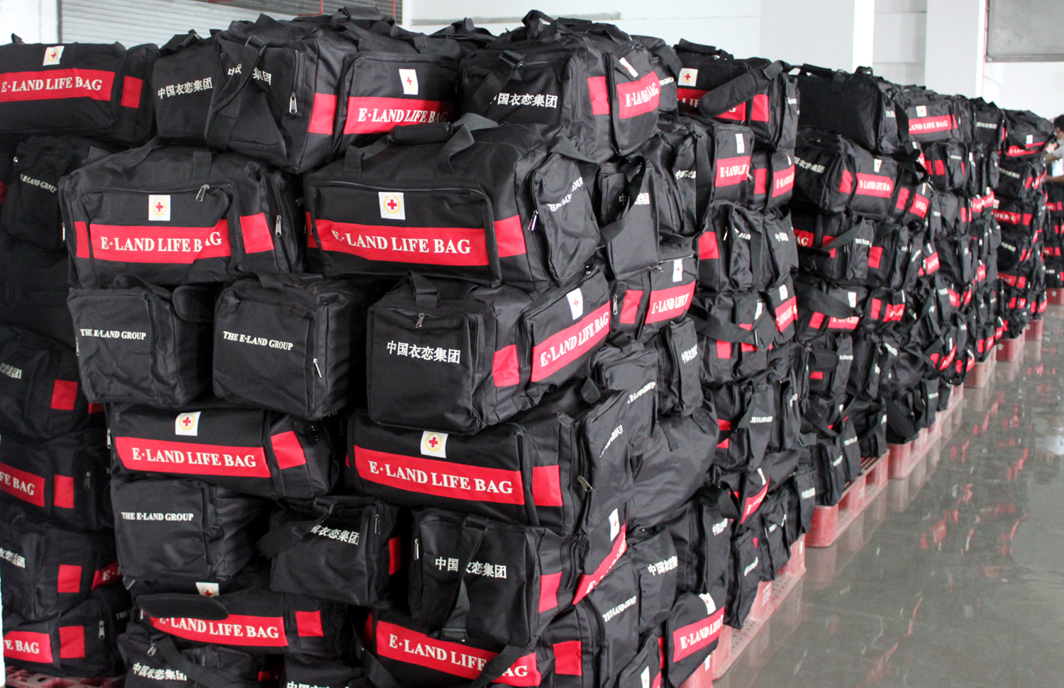 Stacks of emergency kits ready to be distributed.