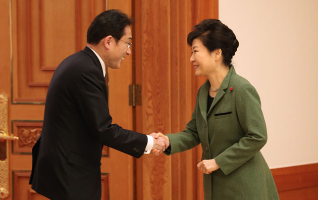 Minister for Foreign Affairs of Japan Fumio Kishida visits South Korean President Park Geun-hye in Seoul after his meeting with the South Korean foreign minister on Dec. 28.