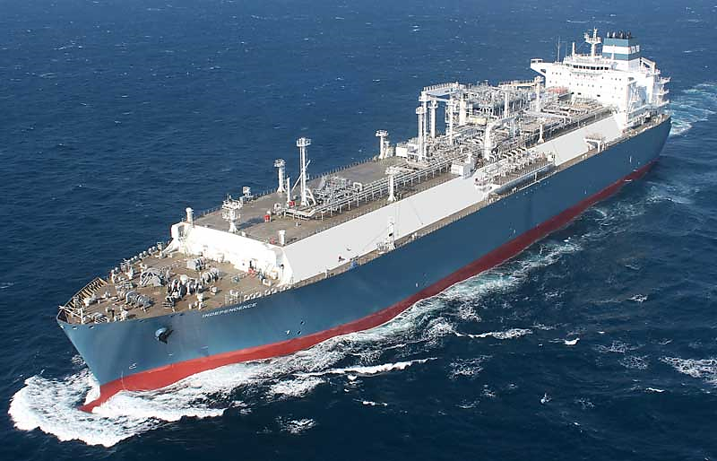 The world's first LNG floating storage and re-gasification unit ship, built by Hyundai Heavy Industries and christened Independence by Lithuanian President Dalia Grybauskaitė.