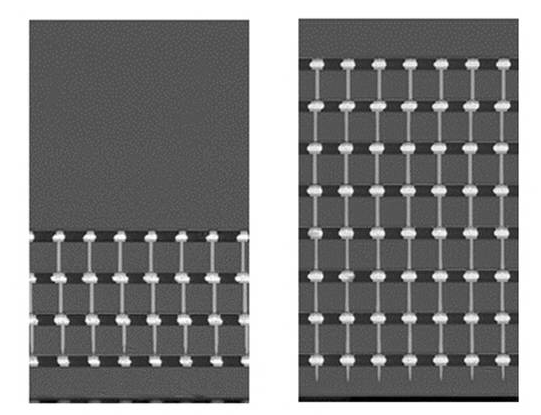 (left)Cross-sectional diagram of 4GB HBM2 ; (right) Cross-sectional diagram of 8GB HBM2