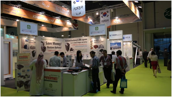 Korea Energy Agency's new renewable energy market development team and related companies run a Korea pavilion at the World Future Energy Summit held from Jan. 18 to 21.