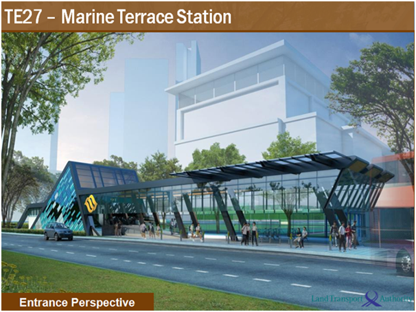 An artist's depiction of the entrance to Marine Terrace Station, a planned subway stop in Singapore.