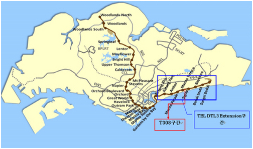 The Thomson-East Coast Line T308 location map in Singapore, which Ssangyong Engineering & Construction (Ssangyong E&C) will build.
