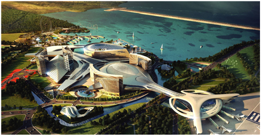 Bird's-eye view of an integrated resort drawn by the Inspire Integrated Resort, a special purpose company set up by Mohegan Sun Korea and KCC.