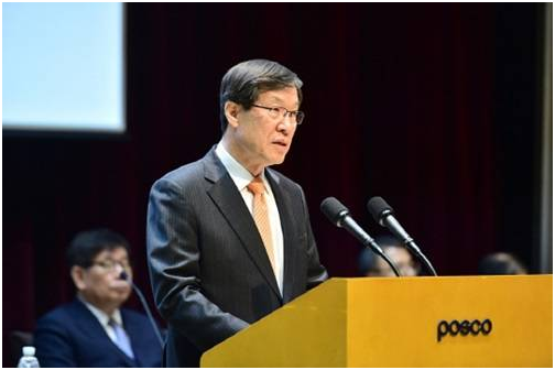POSCO Chairman Kwon Oh-joon says during the 48th general shareholders meeting on March 11 that the steel maker has been actively pushing forward restructuring.