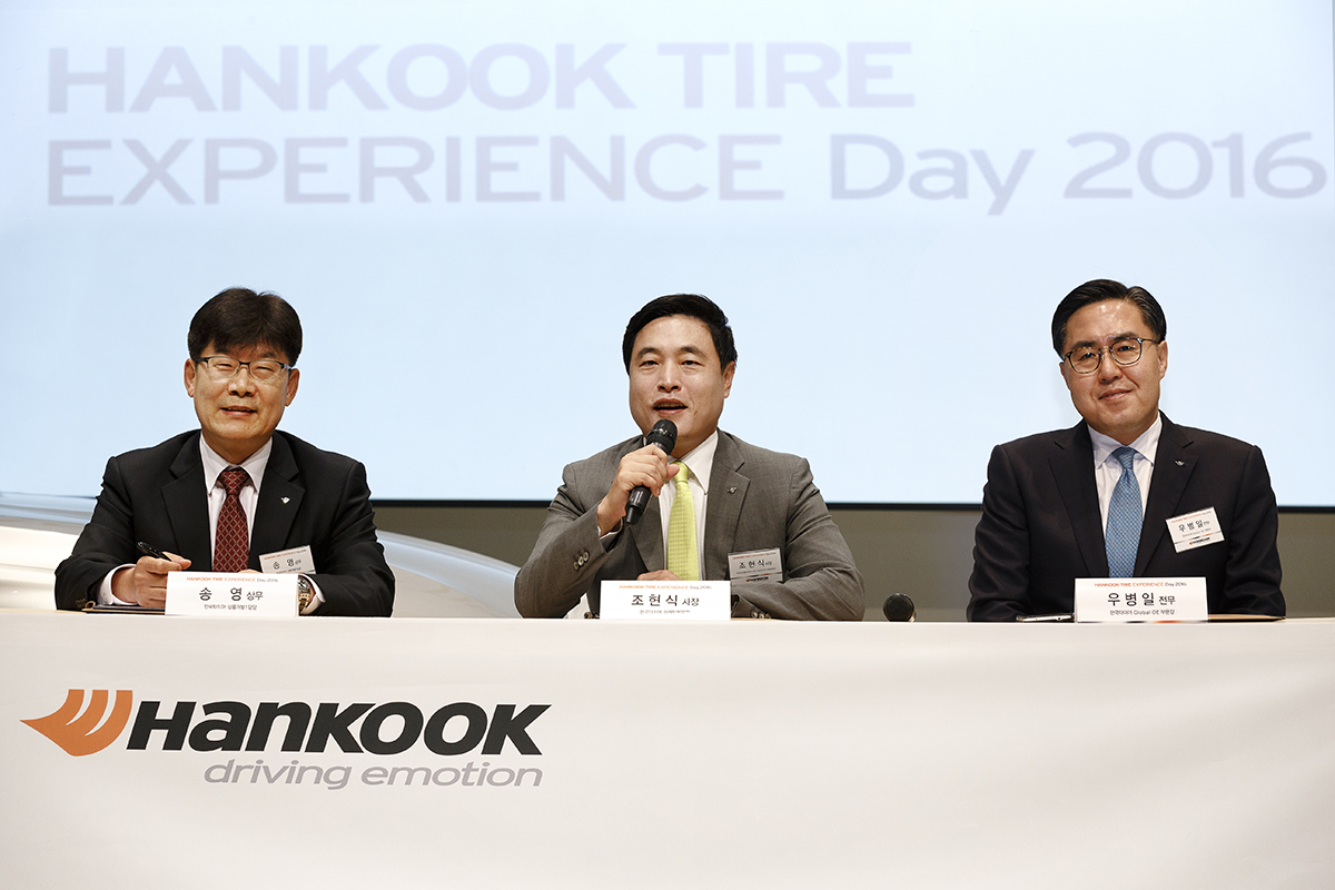 "President Cho Hyun-sik (center) of Hankook Tire delivers a speech at the ""Hankook Tire Experience Day 2016"" event held at BMW's Driving Center on Yeongjong Island on March 22."