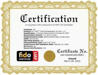 KT and SK Telecom obtained the Fast IDentity Online (FIDO) certification.