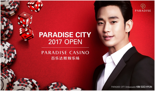 Movie star Kim Soo-hyun will serve as the promotional ambassador for five Paradise Casinos in Korea and Paradise City, the nation's first resort complex under construction in Yeongjong Island, Incheon.