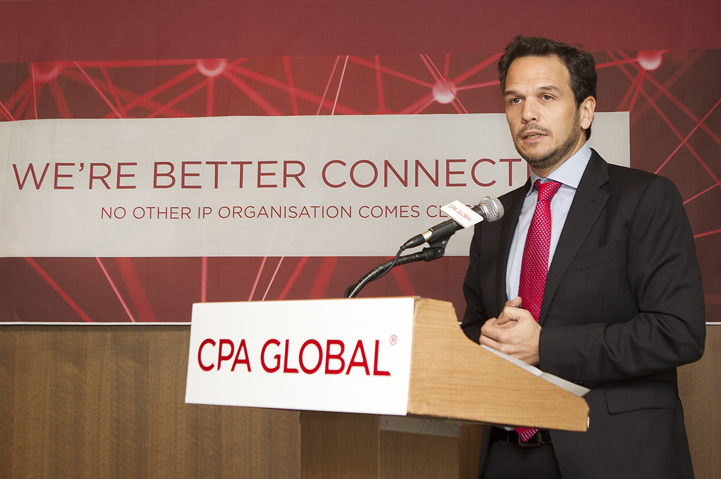 Marcos Antunes, General Manager of CPA GLOBAL Asia Pacific, discussed its new corporate identity (CI) and future business vision at Korea Press Center in Seoul on May 12.